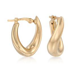 "14kt Yellow Gold Twist-Motif Hoop Earrings. 9/16"", , default"