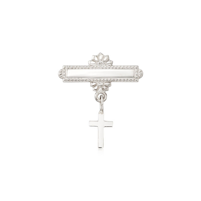 Child's 14kt White Gold Christening Pin with Cross Drop, , default
