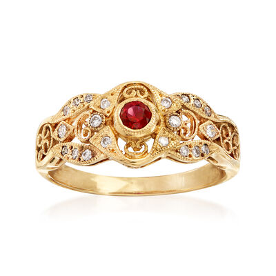 C. 2000 Vintage .17 Carat Ruby and .15 ct. t.w. Diamond Openwork Filigree Ring in 14kt Yellow Gold, , default