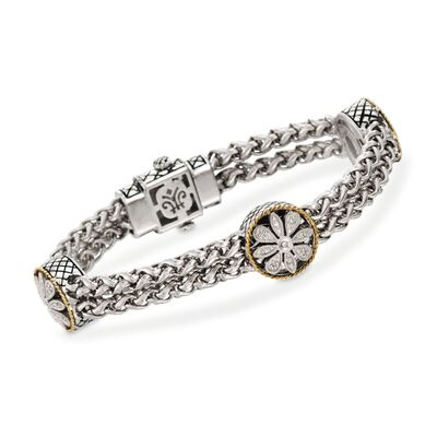 Andrea Candela Two-Tone Floral Station Bracelet with Diamond Accents, , default