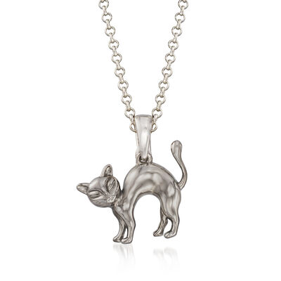 Sterling Silver Cat Pendant Necklace, , default