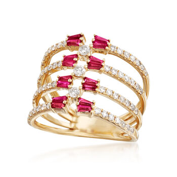 1.10 ct. t.w. Ruby and .69 ct. t.w. Diamond Multi-Row Open-Space Ring in 14kt Yellow Gold, , default