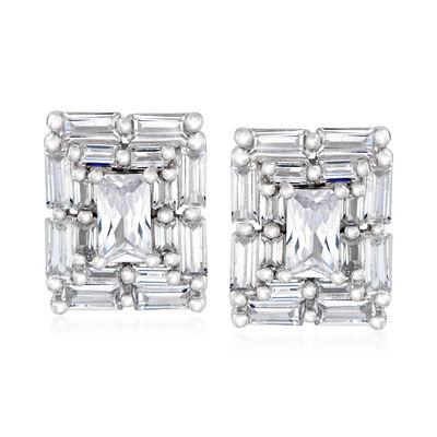 1.80 ct. t.w. CZ Frame Earrings in Sterling Silver