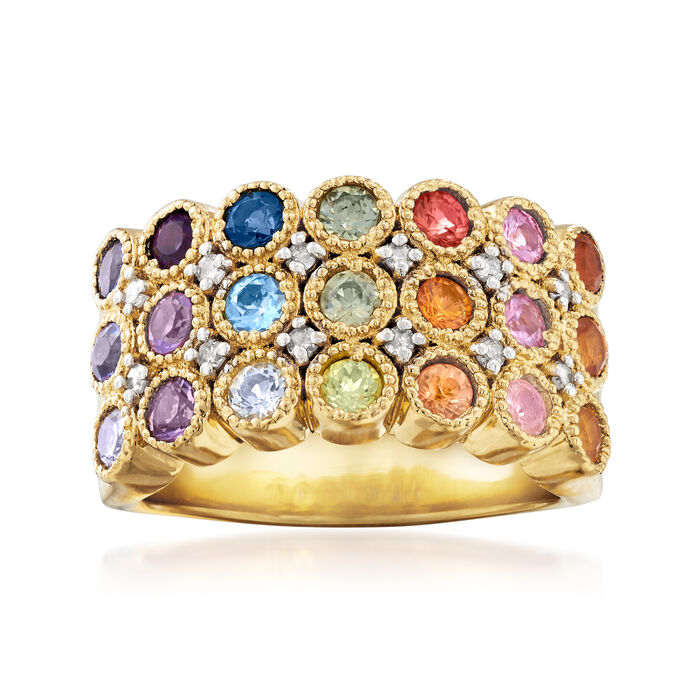 1.20 ct. t.w. Multi-Gemstone and .14 ct. t.w. Diamond Ring in 18kt Gold Over Sterling. Size 5, , default