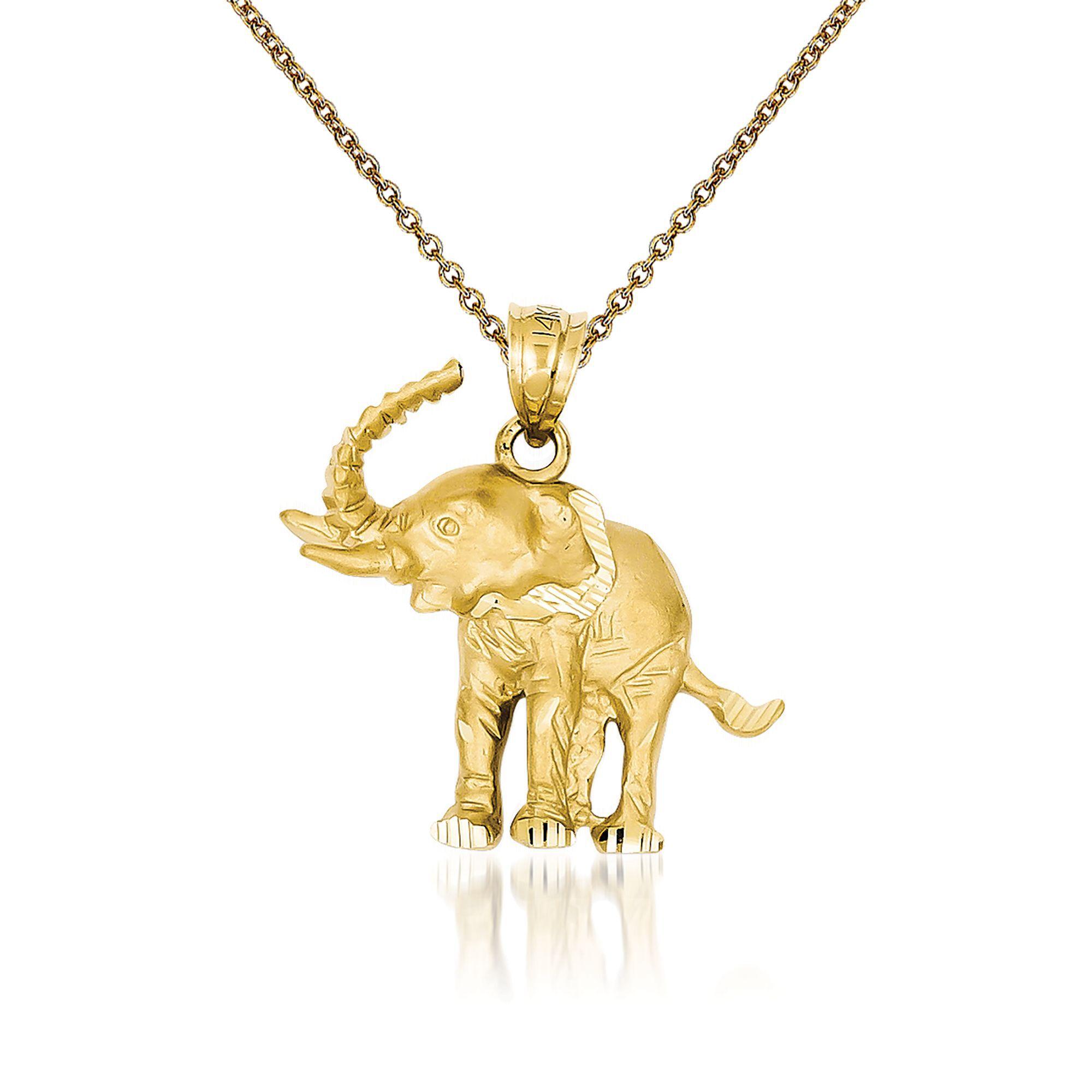 pendant for necklace New 14K Yellow Gold Natural Rose Quartz elephant charm