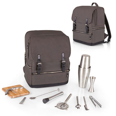 16-pc. Gray Bar-Backpack Portable Cocktail Set