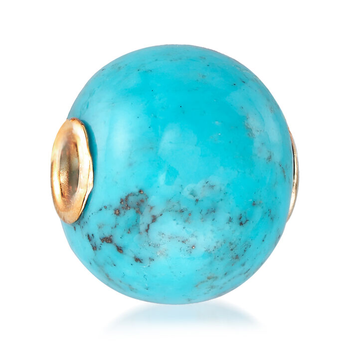 16-16.5mm Turquoise Bead Pendant in 14kt Yellow Gold