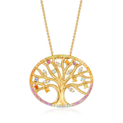 .94 ct. t.w. Multi-Gemstone Tree of Life Pendant Necklace in 18kt Gold Over Sterling