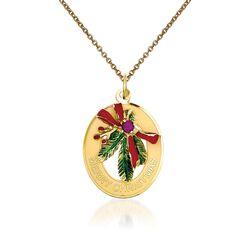 "14kt Yellow Gold Mistletoe Pendant Necklace. 18"", , default"