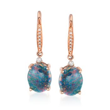 Blue Opal Triplet Drop Earrings With Diamond Accents in 14kt Rose Gold, , default