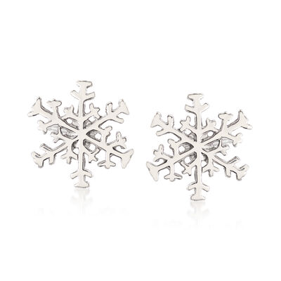 Sterling Silver Snowflake Earrings, , default