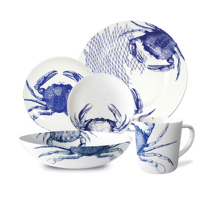 "Caskata ""Crabs Blue"" Blue and White Porcelain Dinnerware, , default"