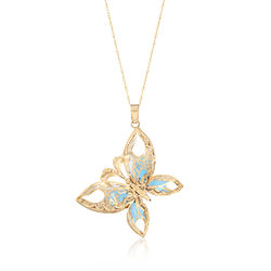 Italian White Enamel and Turquoise Butterfly Pendant Necklace in 14kt Yellow Gold , , default