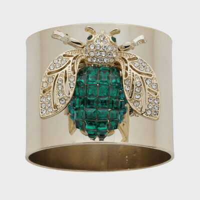 Joanna Buchanan Set of 2 Emerald Sparkle Bee Napkin Rings, , default
