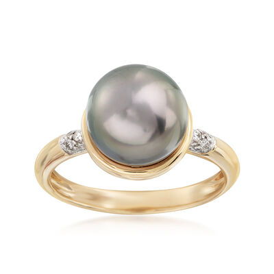 9-10mm Black Cultured Tahitian Pearl Ring in 14kt Yellow Gold