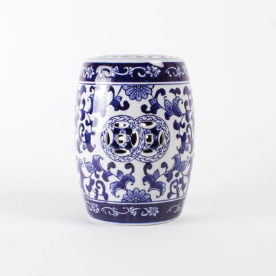 Blue Chinoiserie Porcelain Mini Garden Stool