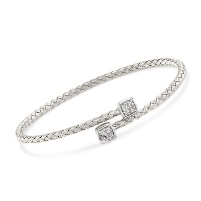 "Charles Garnier ""Nana"" .15 ct. t.w. CZ Square Bypass Bracelet in Sterling Silver, , default"