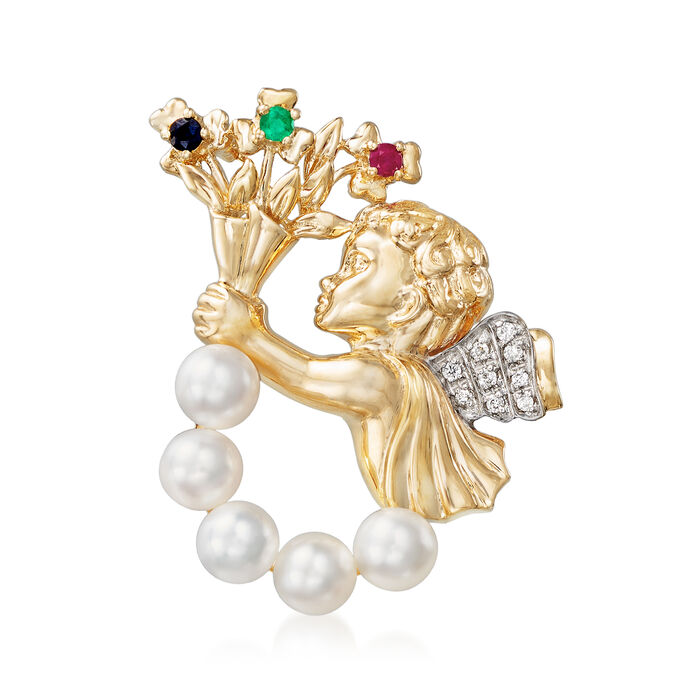 Cultured Pearl and .17 ct. t.w. Multi-Gem Cupid Pin with Diamond Accent in 14kt Gold, , default
