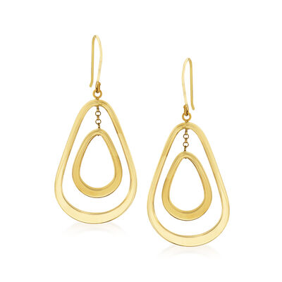14kt Yellow Gold Openwork Double Pear-Shaped Drop Earrings