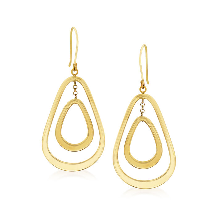 14kt Yellow Gold Openwork Double Pear-Shaped Drop Earrings, , default