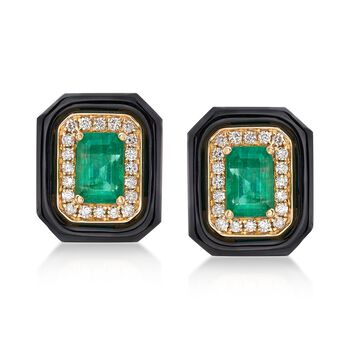 1.20 ct. t.w. Emerald and Black Onyx Earrings With .20 ct. t.w. Diamonds in 18kt Yellow Gold, , default