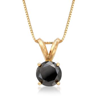 """1.00 Carat Black Diamond Solitaire Necklace in 14kt Yellow Gold. 18"""", , default"""