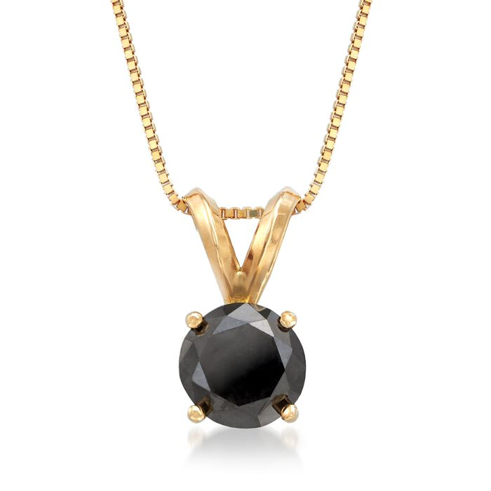"1.00 Carat Black Diamond Solitaire Necklace in 14kt Yellow Gold. 18"", , default"