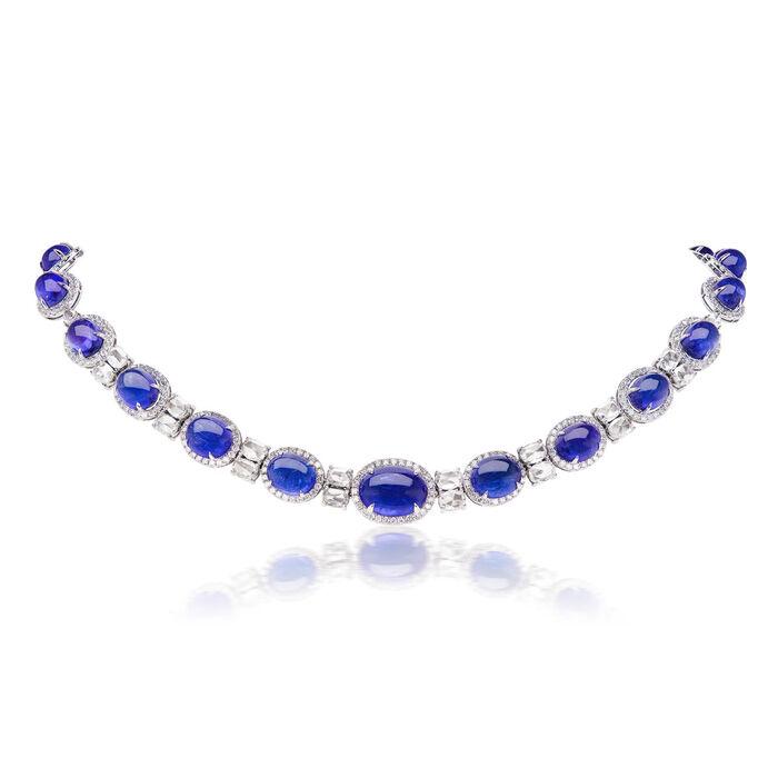 53.50 ct. t.w. Tanzanite and 11.00 ct. t.w. Diamond Necklace in 18kt White Gold