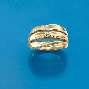 14kt Yellow Gold Three-Row Twist Ring. Size 5, , default
