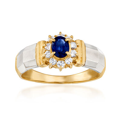 C. 1980 Vintage .52 Carat Oval and .21 ct. t.w. Diamond Ring in Platinum and 18kt Yellow Gold