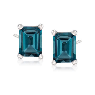 3.00 ct. t.w. London Blue Topaz Stud Earrings in Sterling Silver, , default