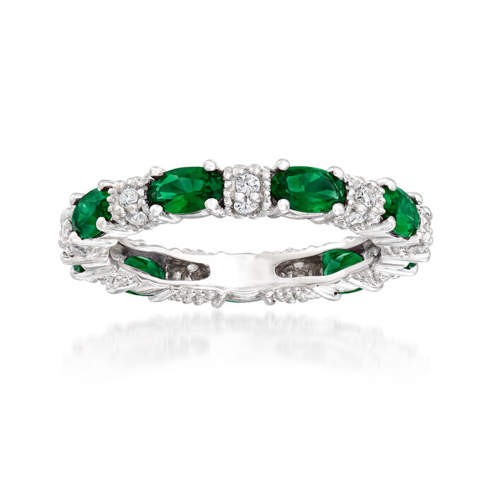 2.00 ct. t.w. Simulated Emerald and .30 ct. t.w. CZ Band in Sterling Silver