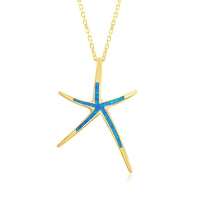 Blue Synthetic Opal Starfish Pendant Necklace in 18kt Yellow Gold Over Sterling Silver, , default