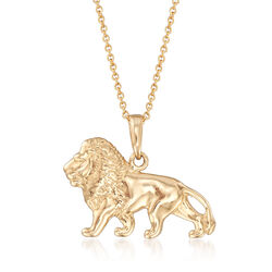 "14kt Yellow Gold Lion Pendant Necklace. 18"", , default"