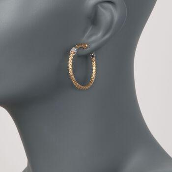 """Charles Garnier """"Torino"""" .20 ct. t.w. CZ Medium Hoop Earrings in Two-Tone Sterling Silver. 1 3/8"""", , default"""