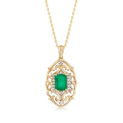.80 Carat Emerald and .10 ct. t.w. Diamond Pendant Necklace in 14kt Yellow Gold, , default