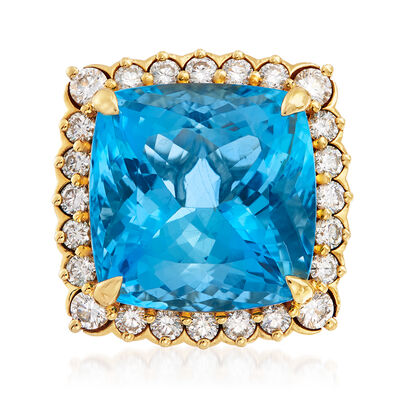 20.00 Carat Aquamarine and 1.60 ct. t.w. Diamond Ring in 18kt Yellow Gold, , default