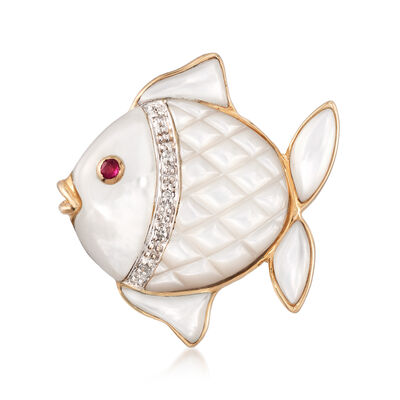 Mother-Of-Pearl Fish Pin With 14kt Yellow Gold , , default
