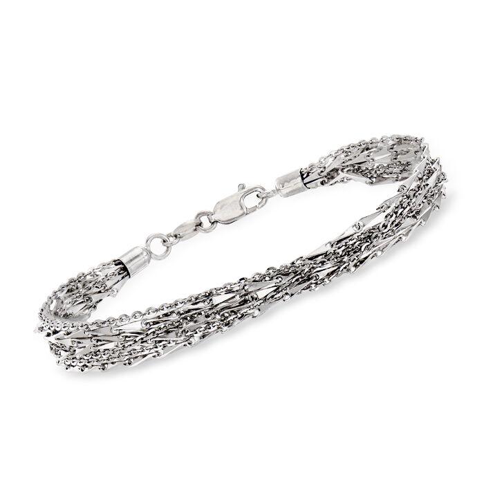 "Italian Multi-Strand Chain Bracelet in Sterling Silver. 8"", , default"