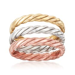 Tri-Colored Sterling Silver Rope-Textured Jewelry Set: Three Stackable Rings, , default