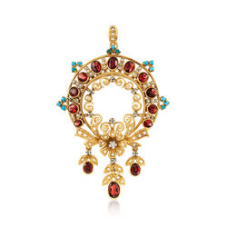 C. 1980 Vintage 4.70 ct. t.w. Garnet Floral Pin Pendant With Turquoise and Diamonds in 18kt Gold, , default