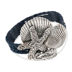 Sterling Silver and Blue Leather Sea Life Wrap Bracelet, , default