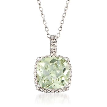 "4.00 Carat Green Amethyst and .10 ct. t.w. Diamond Pendant Necklace in Sterling Silver. 18"", , default"