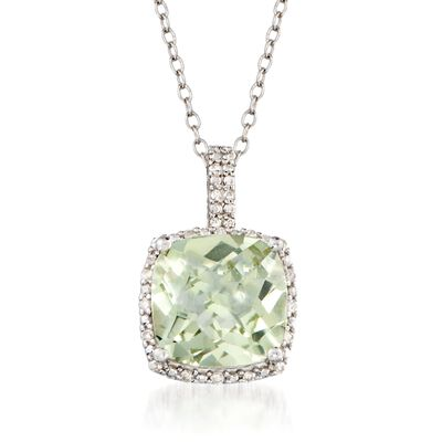 4.00 Carat Green Prasiolite and .10 ct. t.w. Diamond Pendant Necklace in Sterling Silver, , default