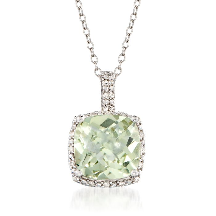 """4.00 Carat Green Prasiolite and .10 ct. t.w. Diamond Pendant Necklace in Sterling Silver. 18"""", , default"""