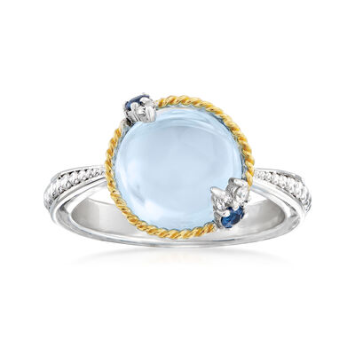 "Andrea Candela ""Dulcitos"" 4.89 Carat Swiss Blue Topaz and .10 ct. t.w. Sapphire Ring in Sterling Silver and 18kt Yellow Gold, , default"