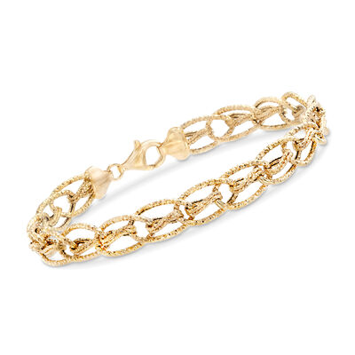 14kt Yellow Gold Textured Oval Interlocking Link Bracelet, , default