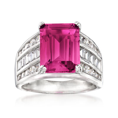 5.10 Carat Simulated Ruby and 1.25 ct. t.w. CZ Ring in Sterling Silver, , default