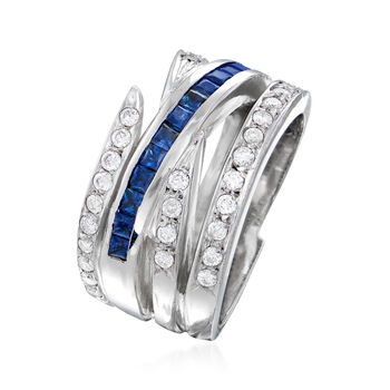 C. 2000 Vintage .70 ct. t.w. Sapphire and .48 ct. t.w. Diamond Crisscross Ring in 14kt White Gold. Size 6, , default