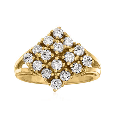 C. 1980 Vintage 1.00 ct. t.w. Diamond Cluster Ring in 14kt Yellow Gold
